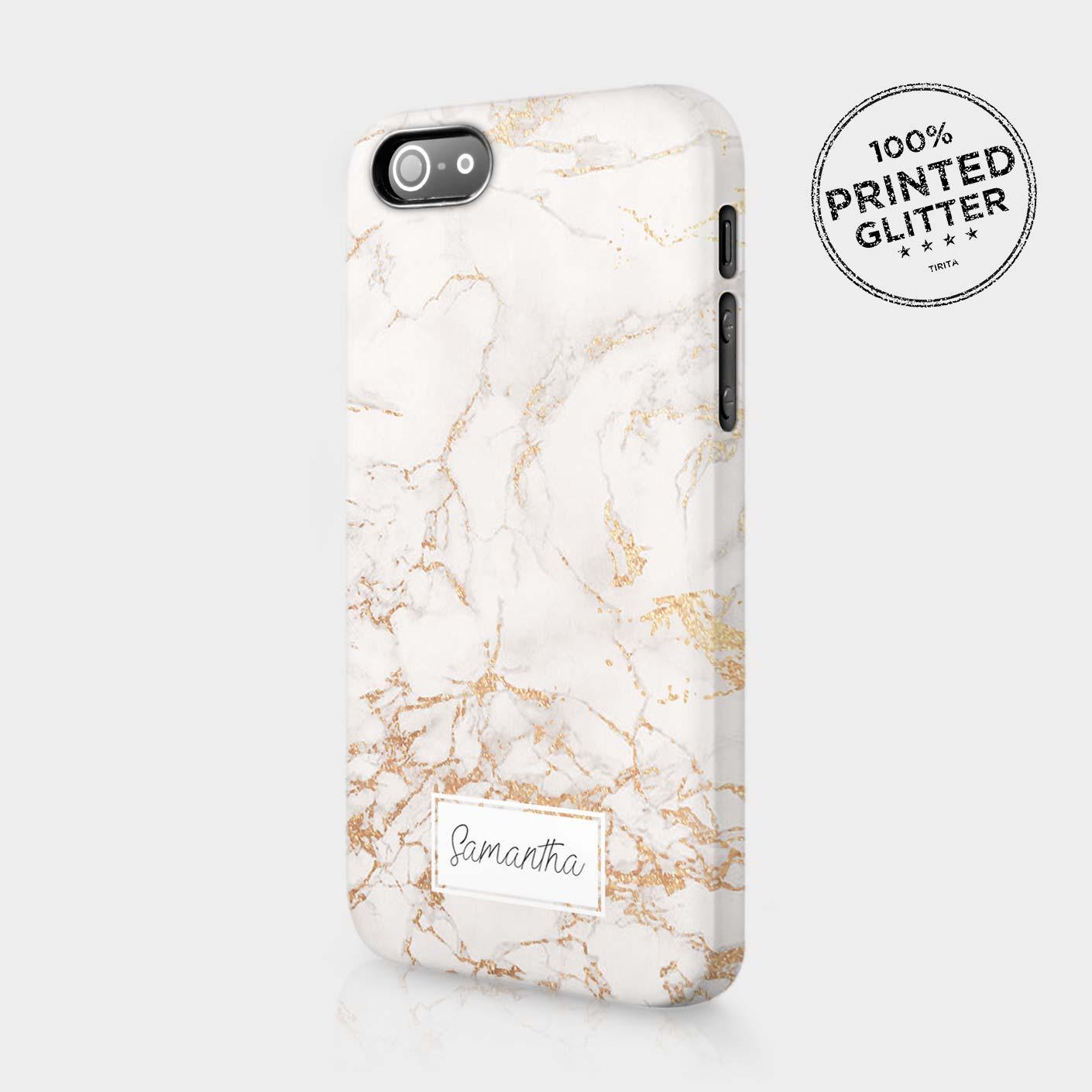 personalised rose gold marble glitter gift initials custom phone