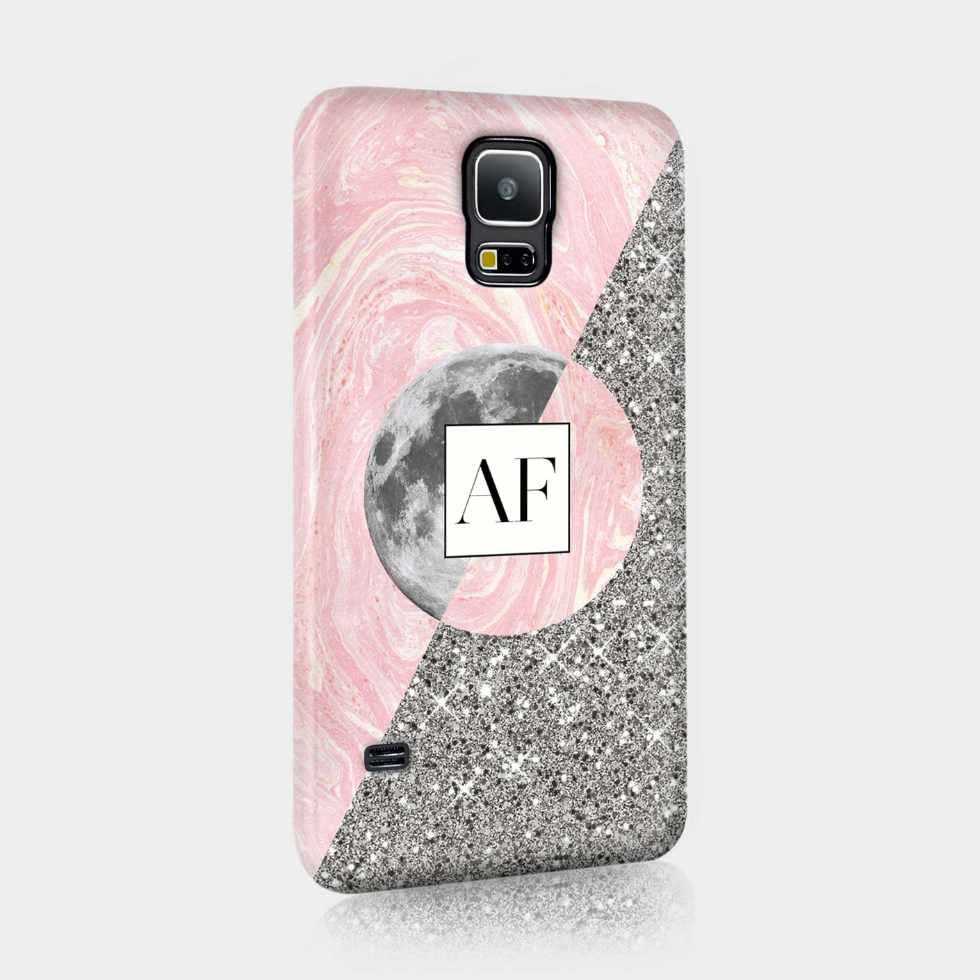 Personalised-Moon-Stars-Marble-Glitter-Planets-Initial-Phone-Hard-Cover-For-HTC