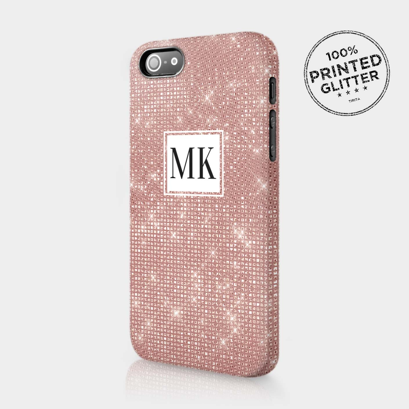 iphone 5 rose gold case personalised gold glitter effect initials custom 17391